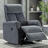 Bonzy Home Power Recliner Chair - Velvet Fabric Electric Recliner Chair - Overstuffed Heavy Duty Home Theater Seating - Reclining Single Bedroom Living Room Chair Power Recliner Sofa (Gray)