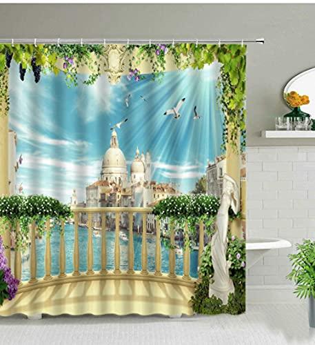 European Architectural Landscape Shower Curtains Green Plant Flower Leaf Natural Scenery Mediterranean Style Bathroom Curtain