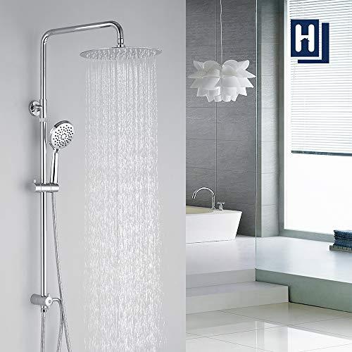 Homelody Duschsystem Duschsäule Duschset Höhenverstellbar Duschstange mit Überkopfbrause und Handbrause Massagedüsen Brausegarnitur ohne Armatur für Bad