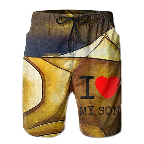 Quick Dry Men's Beach Shorts I Love My Son Mesh Lining Surfing Swim Board Trunks with Pockets M White