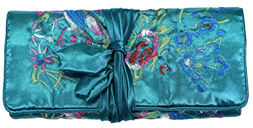 Bees Knees Fashion Teal Bleu Brodé Soie Floral Make Up Bag Wrap Bijoux Rouler