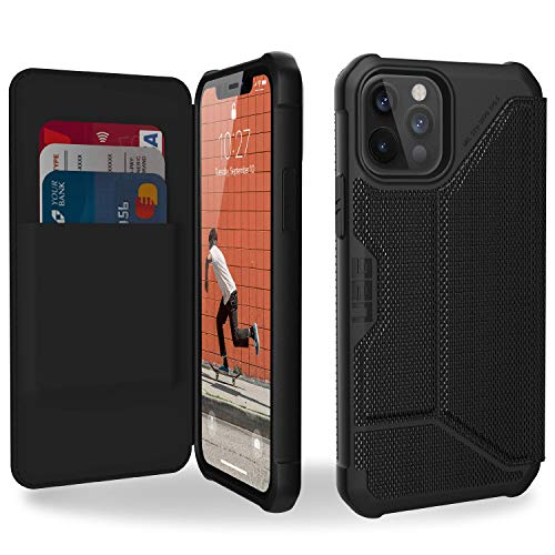 "Urban Armor Gear Metropolis Folio Hülle Apple iPhone 12 / iPhone 12 Pro (6,1\"") Klapphülle [Wireless Charging (Qi) kompatibeles Cover, Case mit Standfunktion & Kartenfächern] FIBR ARMR schwarz"