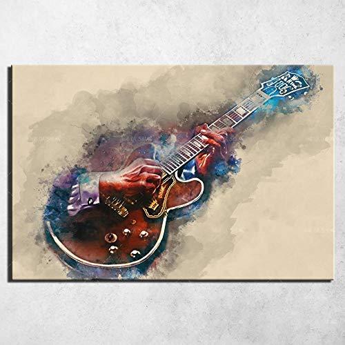 YWOHP Cartel de Arte de Pared Lienzo Grabado Rock Guitarra Lienzo Pintura Mural Cartel decoración Estilo nórdico Lienzo arte-50x70cm_No_Framed_9