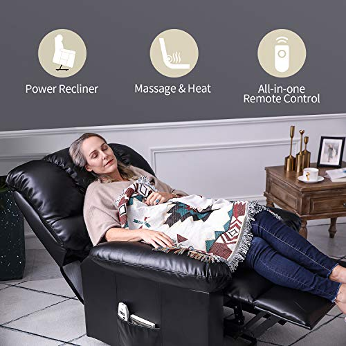 Orimoster Power Lift Recliner Chair with Massage and Heat for Seniors, Ergonomic Electric PU Leather Elderly Reclining Lift Chair with Remote, USB Port and Side Pocket (Black)