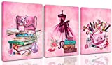 "THRLVEART Wall-Art Fashion - Wall Decor for Bedroom Women - Pink Wall Art Skirt Lipstick Handbags Perfume High Heels Painting Size 12""x16""x3 Panels"