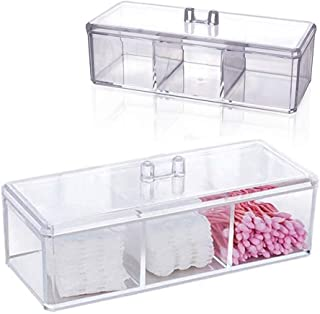 BEAUTTI DAUPHINE Cotton Ball and Swab Holder Organizer with Lid, Dustproof,Waterproof,Clear Acrylic 3 Compartment Cotton P...