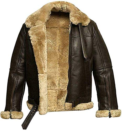 Chaqueta de piel de oveja auténtica para hombre, estilo bombardero, aviador B3 de la Segunda Guerra Mundial, de lana gruesa interior/interior, Chaqueta de piel auténtica de piel para hombre., S
