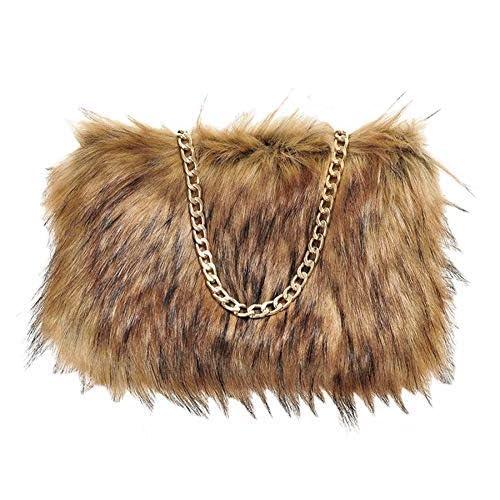55300a98b77c Ladies Designer Plain Faux Fur Fluffy Clutch Bag with Golden Chain Strap  Zip Handbag