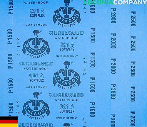 Matador Softflex Schleifpapier, für präzise Polier- und Schleifarbeiten, feucht oder trocken, wasserfest, Körnung: 1500/ 2000 /2500, 6er-Packung