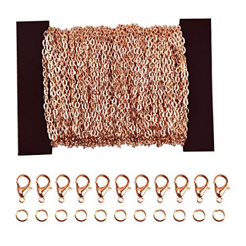 12 Meter Gliederkette für Halsketten, Kettenglieder für Schmuckherstellung, Eisen Kabel Kette mit Karabinerverschlüssen&Biegeringen, Link Chain Meterware für Damen DIY Basteln Armbänder, Roségold