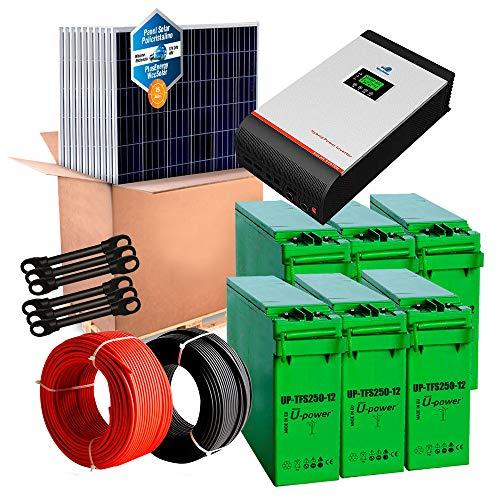Kit con pannello modulo fotovoltaico, con pannelli completi ed inverter 3in1, 1200W 24V+ batterie