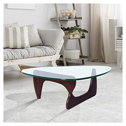 KELUNIS Triangular Glass Top Coffee Table with Durable Dark Walnut Base for Living Room/Leisure Area/Patio/Study Etc