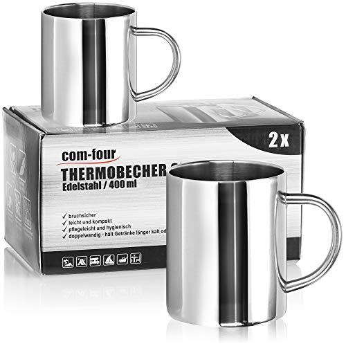 com-four® 2x Edelstahl Thermobecher - 400 ml je Becher - Isolierbecher doppelwandig - Kaffeetasse bruchsicher - Thermo-Trinkbecher - Camping Becher - Tasse - BPA-frei (400ml)