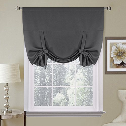H.VERSAILTEX Thermal Insulated Blackout Grey Curtains Tie Up Shade for Window (Rod Pocket Panel) - 42