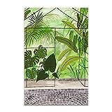 U/N Moda niña Plantas Hojas ilustración Pared Arte Lienzo Pintura Carteles nórdicos e Impresiones Cuadro de Pared para Sala de Estar-9