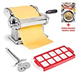 Uno Casa Pasta Maker - Pasta Roller Noodle Maker Machine - Pasta Roller with Pasta Cutter and Ravioli Mold