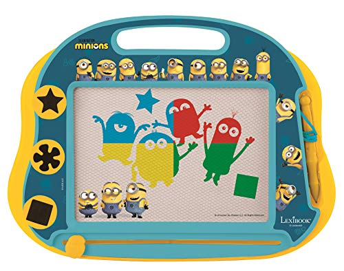Lexibook CRDES550 Magische magnetische Minions Zeichentafel, Magnettafel für Kinder, künstlerisches kreatives Spielzeug für Mädchen und Jungen, Stift und Magnete, Gelb/Blau