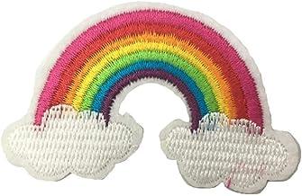 Scrox 10pcs Paño bordado arcoiris DIY Accesorios de Vestir de Tela Bordados Apliques Parches termoadhesivos de Color de Alta Densidad 3.7 * 5CM poliéster