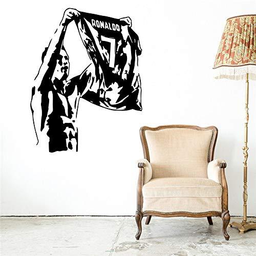 mlpnko Jugador de fútbol Etiqueta de la Pared de Vinilo para la decoración del Dormitorio del hogar Corp Oficina protección del Medio Ambiente Pvc74X57Cm