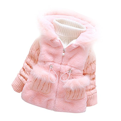 Ancia Baby Girls Infant Toddler Winter Knited Outerwear Coats Snowsuit Jackets(Pink,12-18months)