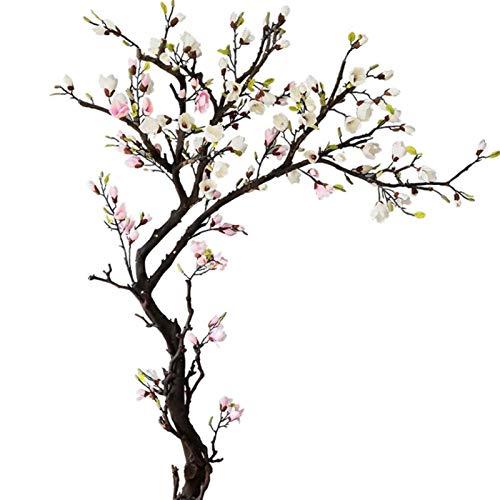 LOMJK Árbol Artificial Magnolia Flores de Seda Flores Falsas de Olla de árboles Adornos de Flores...