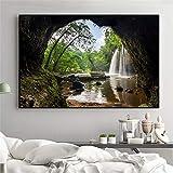 Imprimir en Lienzo Waterfall Rock Lake decoración de la Pared para la Sala de Estar Cuadro de Arte de Pared Carteles para el hogar Ilustraciones,70x105cm,Pintura sin Marco