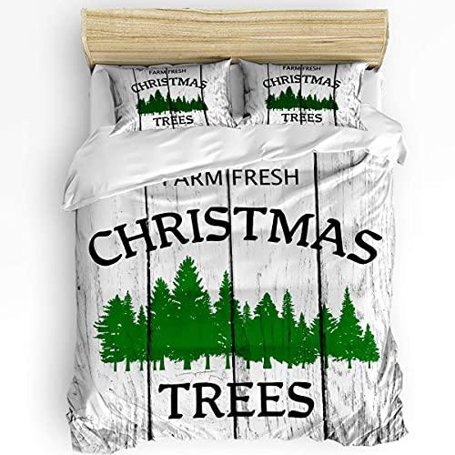 Juego de fundas nórdicas Merry Christmas de 3 piezas, funda nórdica suave y cómoda para todas las estaciones, juego de ropa de cama resistente a las arrugas y a la decoloración Farm Fresh Green Christ