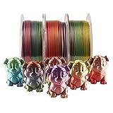 QDTD Silk Multicolor Rainbow PLA Filament, 1.75mm Metallic Gradient 3D Printing Material 1kg/Spool Total 3 Spools 3kgs