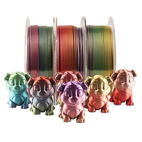 Hello Soie Multicolore Arc-en-PLA Filament, 1.75mm Métallique Dégradé Matériel d'impression 3D 1 Kg/Spool Au Total 3 Bobines 3kgs
