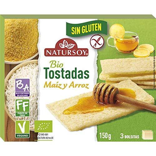 Tostadas de maíz y arroz Sin gluten 150g, Natursoy