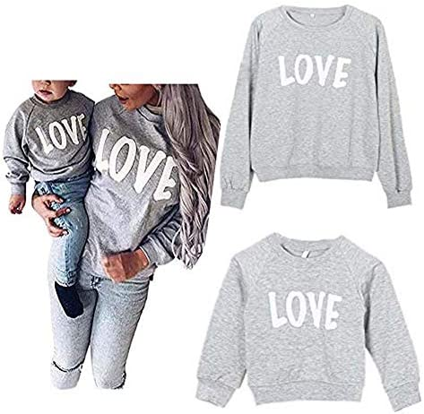 Mommy and Me Love Print Long Sleeve Pullover Tee Tops Family Matching Casual Sweatshirt T Shirt product image