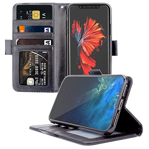 Housse Etui pour iPhone X, Etui Pochette en Cuir à Rabat Portefeuille Support intégré Coque pour iPhone X