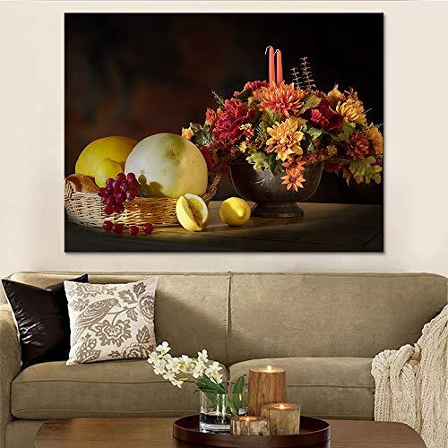 Frameloze schilderij HD art prints modulaire poster woondecoratie woonkamer modern stilleven fruit tafel schilderijZGQ3737 40x60cm