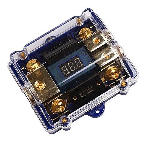 Indicateur numérique audio de voiture avec LED bleue super lumineuse 0 2 4 porte-fusible