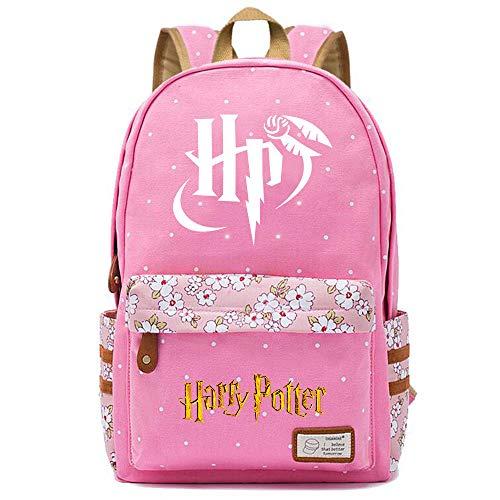 NYLY Mochila Escolar de Flores para niñas Mochilas Informales de Moda/de Compras/de Viaje, Mochila de la Serie Harry Potter (Estilo E) L Rosa