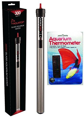 AquaTop Aquarium Glass Submersible Heater, 300-Watt with Liquid Crystal Vertical Aquarium Thermometer