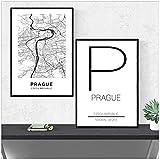 FUXUERUI Póster e imágenes impresas en lienzo con mapa de la República Checa de la ciudad de Praga póster e imágenes para la decoración de la sala de estar,40x60cmx2 sin marco