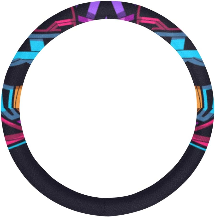 XDCGG Al sold out. Steering Quantity limited Wheel Cover Neon Anti Wolf Art Leather Microfiber
