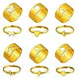 Liitata 6 pares de anillos a juego mariposas anillos de compromiso anillos de corazón estrella, luna flash serpiente anillos para boda aniversario cumpleaños regalo ropa diaria color dorado