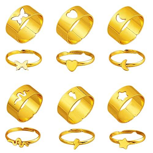 Liitata 6 pares de anillos a juego mariposas anillos de compromiso anillos...
