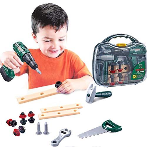 Weneye Kinderwerkzeugset, Werkzeugkoffer mit Power Toy,Spielzeug-Werkzeugset,16 weitere Spielwerkzeuge,Pretend Play Construction Toy Kids Geschenk