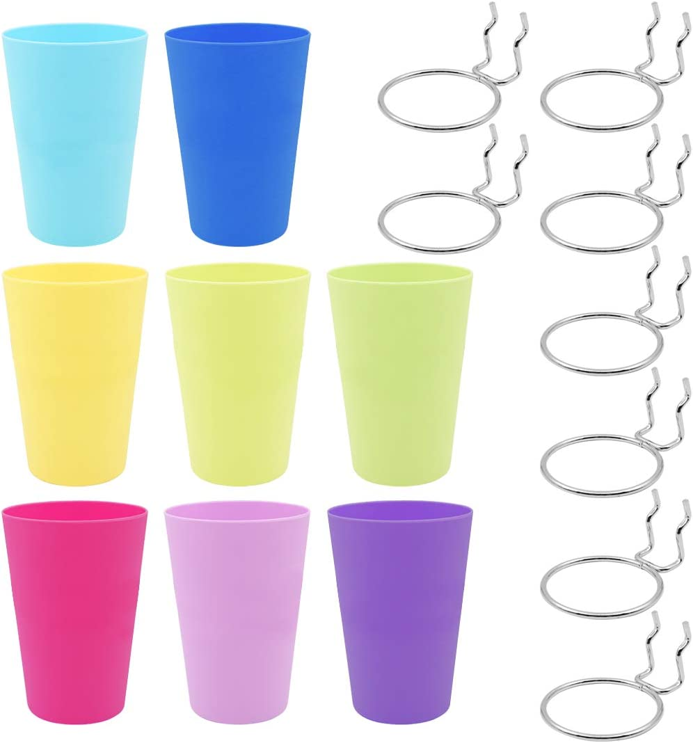 8 Sets Pegboard Hooks with Cups, Pegboard Accesorries Multicolor
