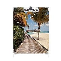 クリップボード ビーチ プレゼントA4 バインダー 熱帯の島のバンガローココナッツのヤシの木 用箋挟 クロス貼 A4 短辺とじビーチシークレットパラダイスモルディブ 多色
