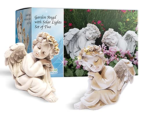 HAPPY COMPOST 2 Angel Solar Light Garden Statues 6- Handmade Garden Decor with Halo LED lights Angel Figurines. Batteries Included. Great for Outdoor Decor or Patio Decor. Memorial or Spiritual Gifts