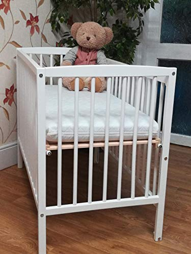 Lisa Compact Mini/Space Saver Drop Side Cot in White : Includes 10cm Thick Spacesaver Cot Mattress BABY REX®: Perfect for Small Rooms …