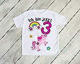 Kinder T-Shirt'Ich bin jetzt 3' Einhörner 3.Geburtstag Größe 106/116 Kind Einhorn Einhörner Regenbogen Sterne Drei