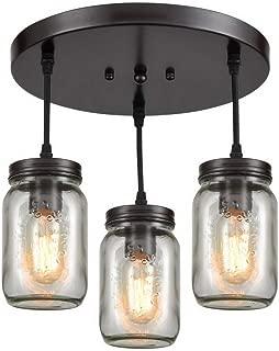 EUL Mason Jar Pendant Lighting Semi Flush Mount Ceiling Light with Clear Glass Shade Oil Rubbed Bronze - 3 Lights