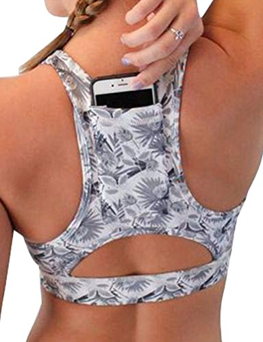 ZJP Women Gym Racerback Sport Bras Tank Top Floral Print Activewear with Pockets White