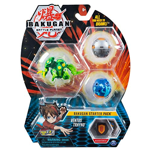 Bakugan Starter Pack 3-Pack, Ventus Trhyno, Collectible Action Figures, for Ages 6 and up