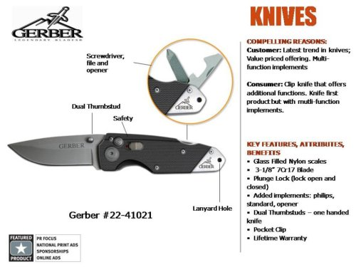 Product Image 1: Gerber Obsidian Knife, Fine Edge, with Screwdriver and Bottle Opener [22-41021]